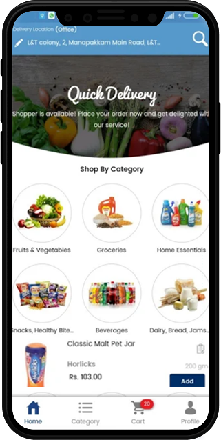 Customized eCommerce Platform Mobile Application